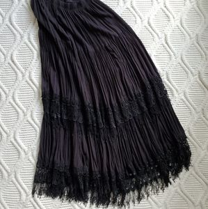 Vintage Boho Black Maxi Skirt